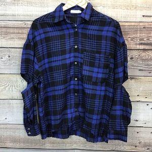 LUSH Flannel Cutouts Raw Hem XS Blue Black Plaid